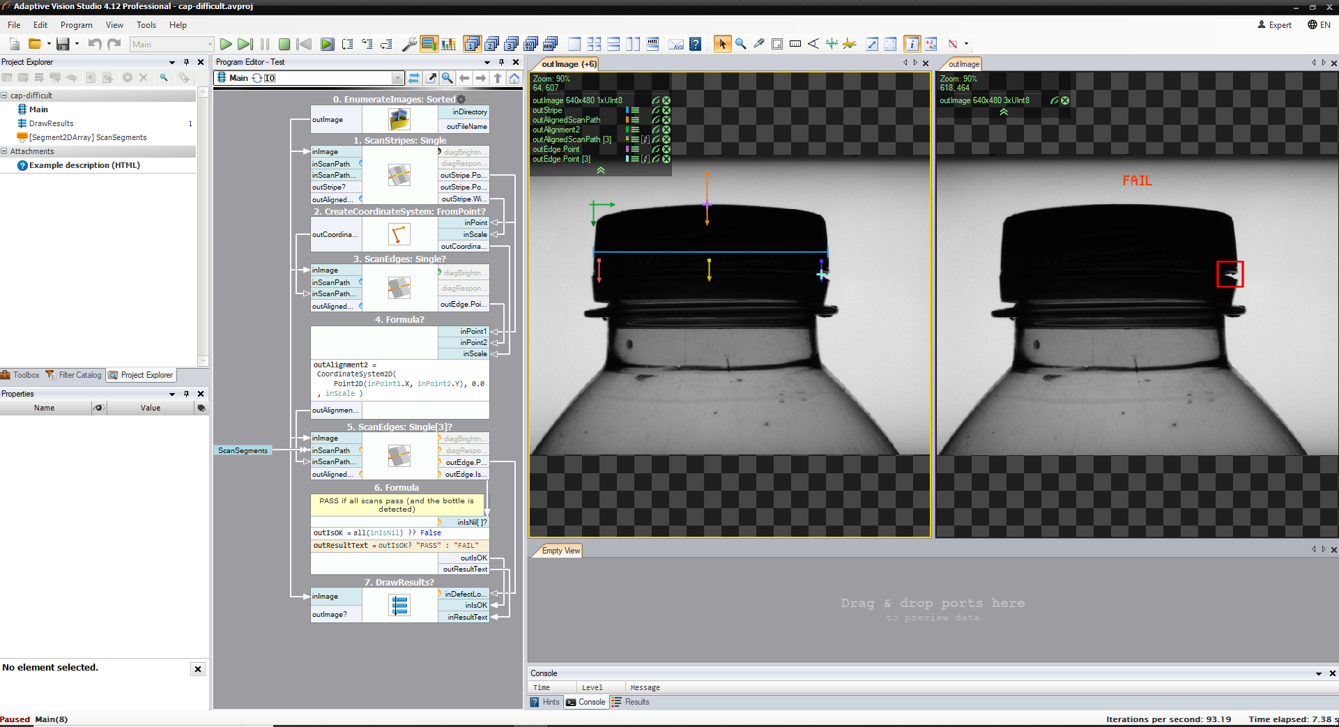 Screenshot Image of Bottlecap Inspection in Adaptive Vision Studio