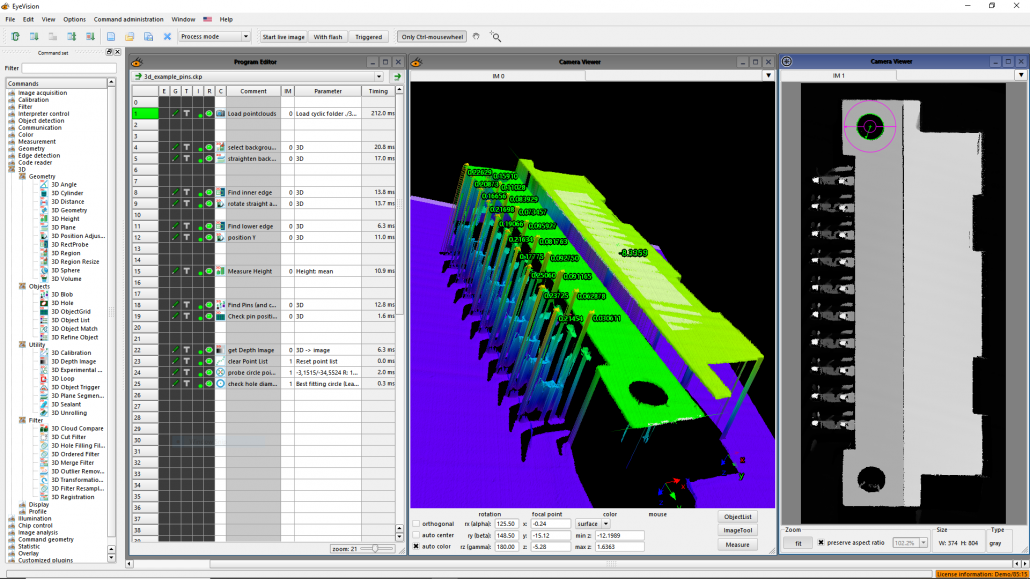 3D Analysis – Pin Inspection – EyeVision 3D Software